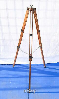 Vieux Bois Trépied Réflecteur Support Lampadaire Design Industriel Loft Vintage 125cm