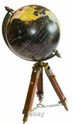 Vieux Globe De Monde 12 Avec Le Décor En Bois De Coin De Maison/bureau De Trépied