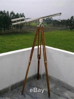 Vintage 39 Brass Double Barrel Telescope Nautique Maritime Avec Trépied