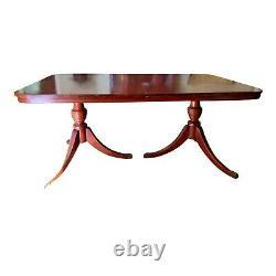 Vintage Acajou Table À Manger Trépied Urne Double Piédestal Base Avec Orteils En Laiton