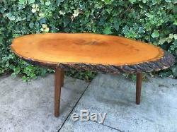Vintage Arbre Tranche Slab Bord Direct Bois Table Basse Retro 1970 Les Jambes