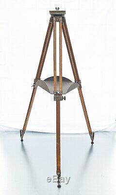 Vintage Bois Trépied Réflecteur Support Lampadaire Industriel Old Loft Design 146cm