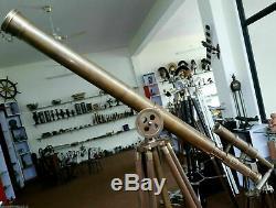 Vintage Brass Double Barrel Antique Astro Télescope Avec Trépied Gift Item