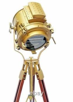 Vintage Brass Nautical Search Floor Lamp Spotlight Trépied En Bois Stand Cadeau