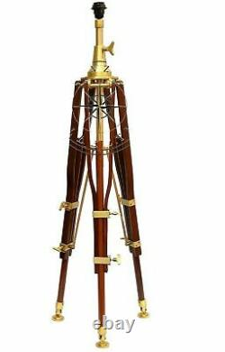 Vintage Brass Nautical Searchlight Floor Lamp Spotlight Lumière Trépied En Bois