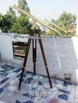 Vintage Brass Nautique Télescope Sur Trépied Décor Marin Stand Réglable En Bois