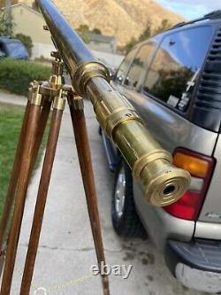 Vintage Brass Télescope Trépied Maritime Nautique En Bois 62 Grand