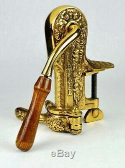 Vintage Brass Vintner & Bois Trépied Tire-bouchon Décapsuleur Et Stockage Unité