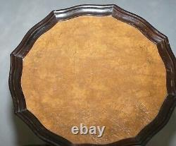 Vintage Circa 1940's Brown Leather Vintage Mahogany Tripod Lamp Side End Table