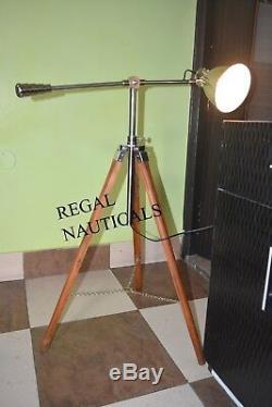 Vintage Designer Floor Lamp Cosmo Avec Trépied En Bois Searchlight Home Décor Cadeau