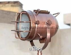 Vintage E27 Led Lampadaire Avec Lampe Searchlight Main Trépied En Bois Décor