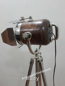Vintage Élégant Nautique En Bois Recherche Lumière Étage Lumière Lampe Trépied Décor À La Maison