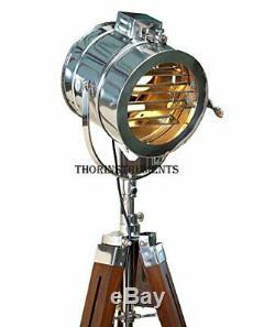 Vintage Étape Searchlight Trépied En Bois Support Search Light Studio Spot Lampe
