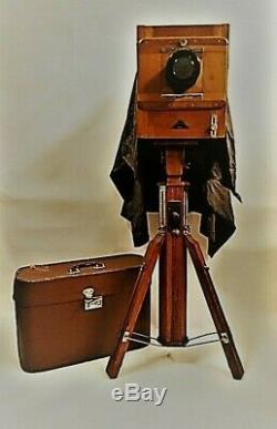 Vintage Fkd 13x18cm Urss Russe Caméra De Bois + Objectif 37 (4,5 / 300) + Trépied