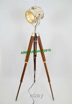 Vintage Handmade Nautical Spotlight Floor Lamp Brown Trépied En Bois Stand