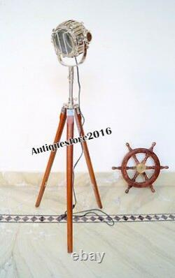 Vintage Holywood Marine Spot Light Nautical Wooden Tripod Floor Lamp Gift