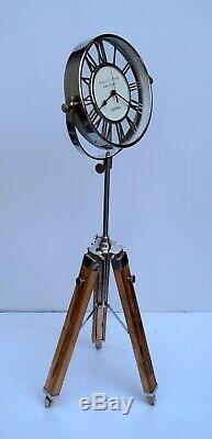 Vintage Horloge Sol Nautique Avec Trépied En Bois Décoratif Maison Maritime Cadeau