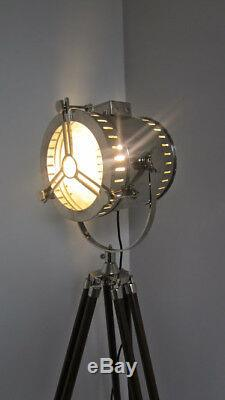 Vintage Industrial Spot Light Lampadaire Avec Trépied Searchlight Décor En Bois