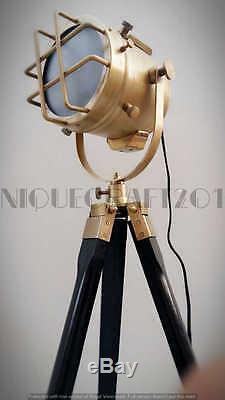 Vintage Lampadaire Withwooden Trépied Marine Décoratif Recherche Cadeau Lumière