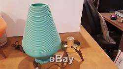 Vintage MID Century Modern Atomic Beehive Lampe Turquoise Teal Jambes De Trépied En Bois