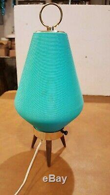 Vintage MID Siècle Moderne Atomique Ruche Lampe Turquoise Aqua Pieds Trépied En Bois