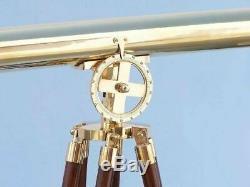 Vintage Maritime Brillant Laiton Lunette Astronomique Double Barrel Main Avec Trépied En Bois
