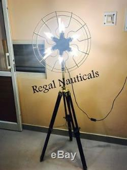 Vintage Nautique 6 Porte-ventilateur Lampe En Bois Solide Trépied Lampadaire Lumière