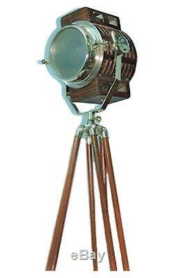 Vintage Nautique Lampadaire / Projecteur En Bois Trépied / Support, Clair Lumen Ms Si-06