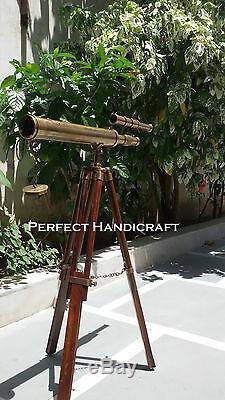 Vintage Nautique Marine Brass Double Barrel Télescope Avec Trépied En Bois Support