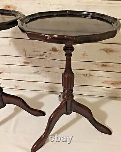 Vintage Paire De Croûte De Tarte En Bois Occasionnelle Table De L'usine De Vin De Thé