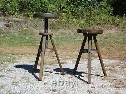 Vintage Paire Industrielle En Bois Massif Trépied Rotatif Réglable Tabourets De Rédaction