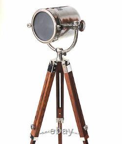 Vintage Rétro Nautical Searchlight Floor Lamp Lampe En Bois Trépied Lampe Réglable