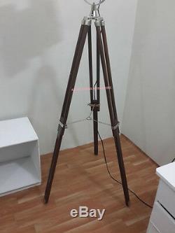 Vintage Searchlight Lustre Retro Lampadaire Avec Support Trépied En Bois