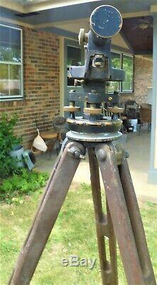 Vintage Seiler Inst. Co. Transit Surveyor Niveau Avec La Boîte Et Trépied En Bois # 7955