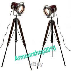 Vintage Style Nautique Searchlight Lampadaire Pleins Feux En Bois Clair Trépied