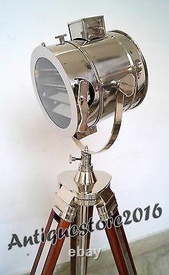 Vintage Theater Industrial Spotlight Floor Lamp Trépied En Bois Beau Cadeau