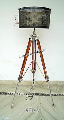 Vintage Trépied Floor Lamp Shade Trépied Chrome Noël En Bois Pied Avec Abat-jour