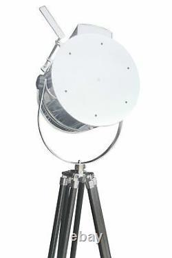Vintage Tripod Spotlight Lampe De Plancher Chrome Finish Aviation Nautical 22
