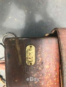 Vintage Warren Knight Co Sterling Compass Transit Avec Étui Et Trépied En Bois