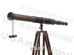 Vintage Wooden Tripod Brass Telescope Brass Nautical Antique Handmade Telescope