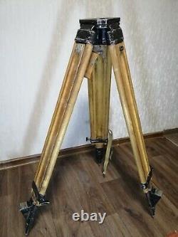 Vintage Wooden Tripod Urss Soviétique Pour Theodolite Nivelir Camera 1976 Année