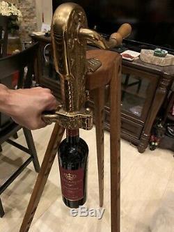 Vintner Vintage Solid Brass Corkscrew Vin Ouvre Corkmaster Bois Trépied