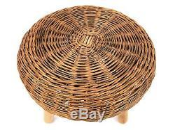 Vtg 1960 Wicker Tony Paul Style De Trépied Tabouret Ottoman Plante Stand Boho Chic