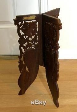 Vtg Sculpté À La Main En Bois Sheesham Os Inlay Usine Stand Inde 18 Jambes De Trépied